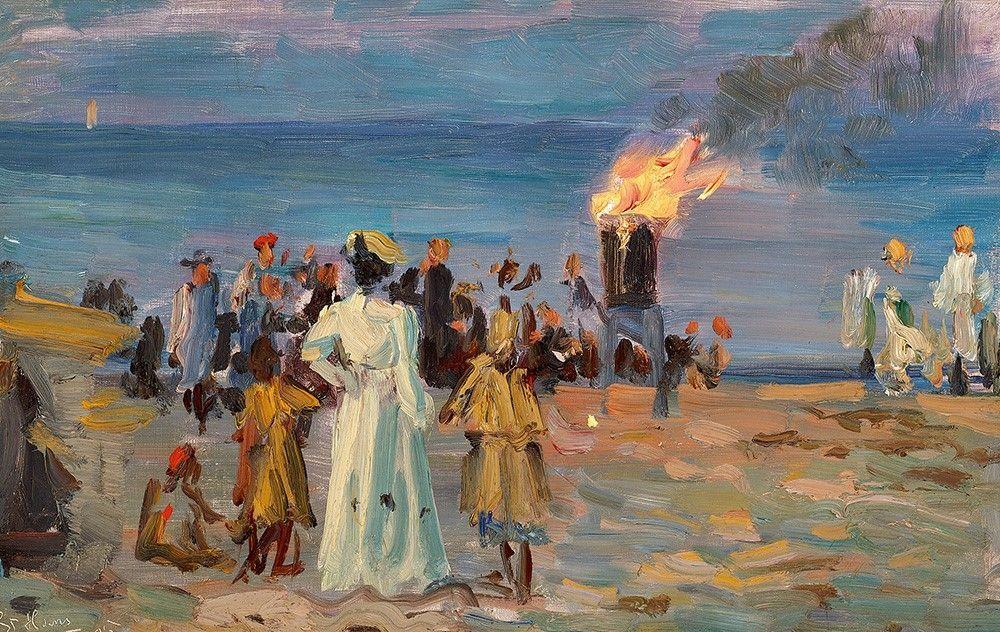 """Sankthansaften, Laurits Tuxen """"St. Hansblus på Skagens strand"""", 1905"""