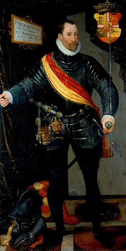 Portret   Frederika II namalowany przez  Hansa Knipera                                                                 Zamek Frederiksborg w Hillerød