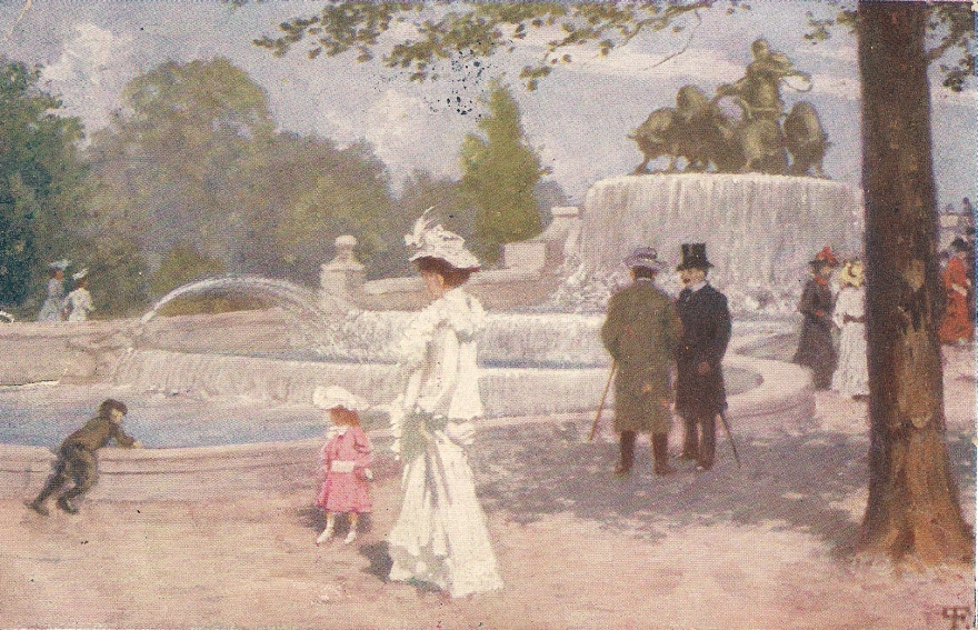Paul Gustav Fischer, ca 1900, Promenade ved Gefionspringvandet