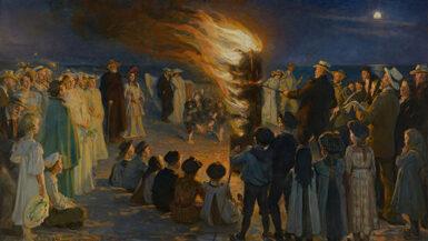 """P.S. Krøyer """" Sankt Hansblus på Skagen Strand"""" 1906"""